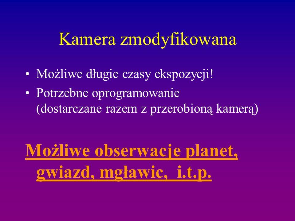 Możliwe obserwacje planet, gwiazd, mgławic, i.t.p.