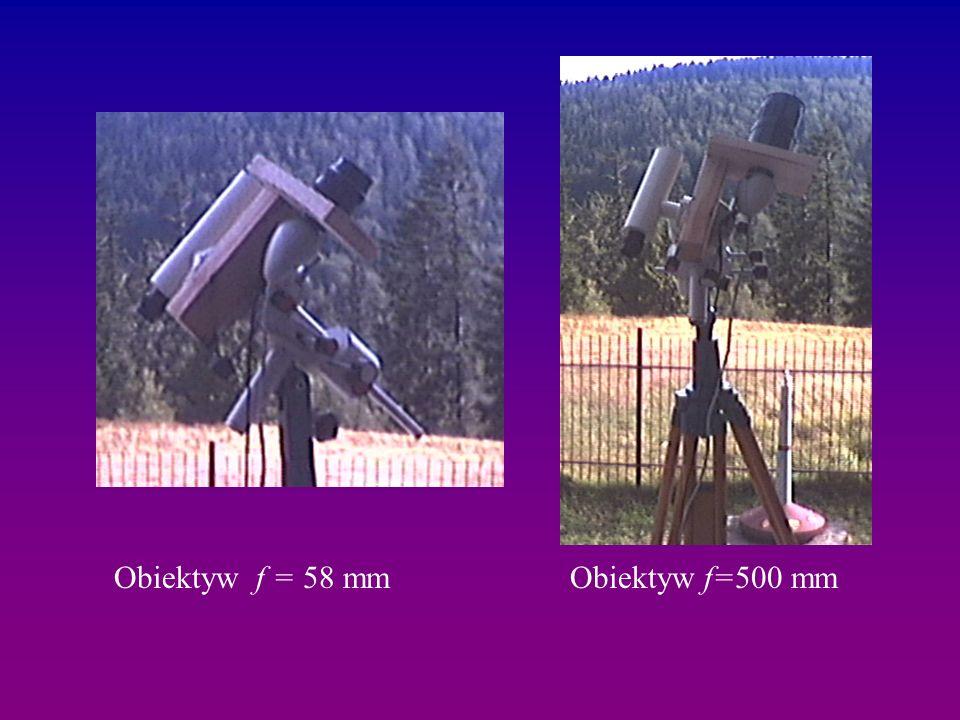 Obiektyw f = 58 mm Obiektyw f=500 mm