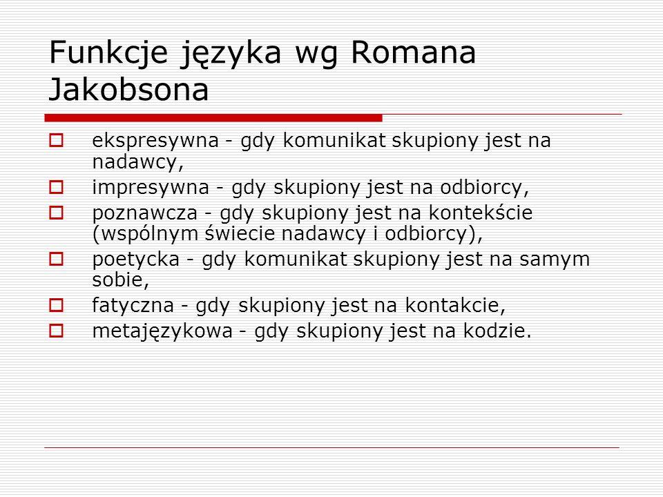 Funkcje języka wg Romana Jakobsona