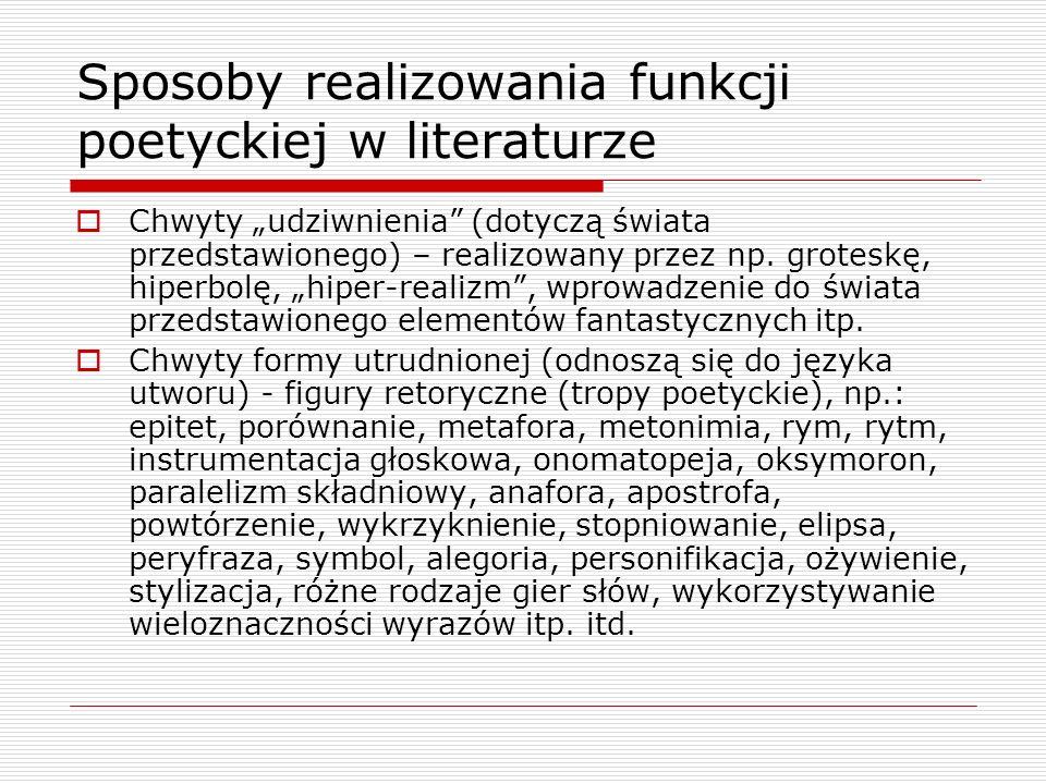 Sposoby realizowania funkcji poetyckiej w literaturze