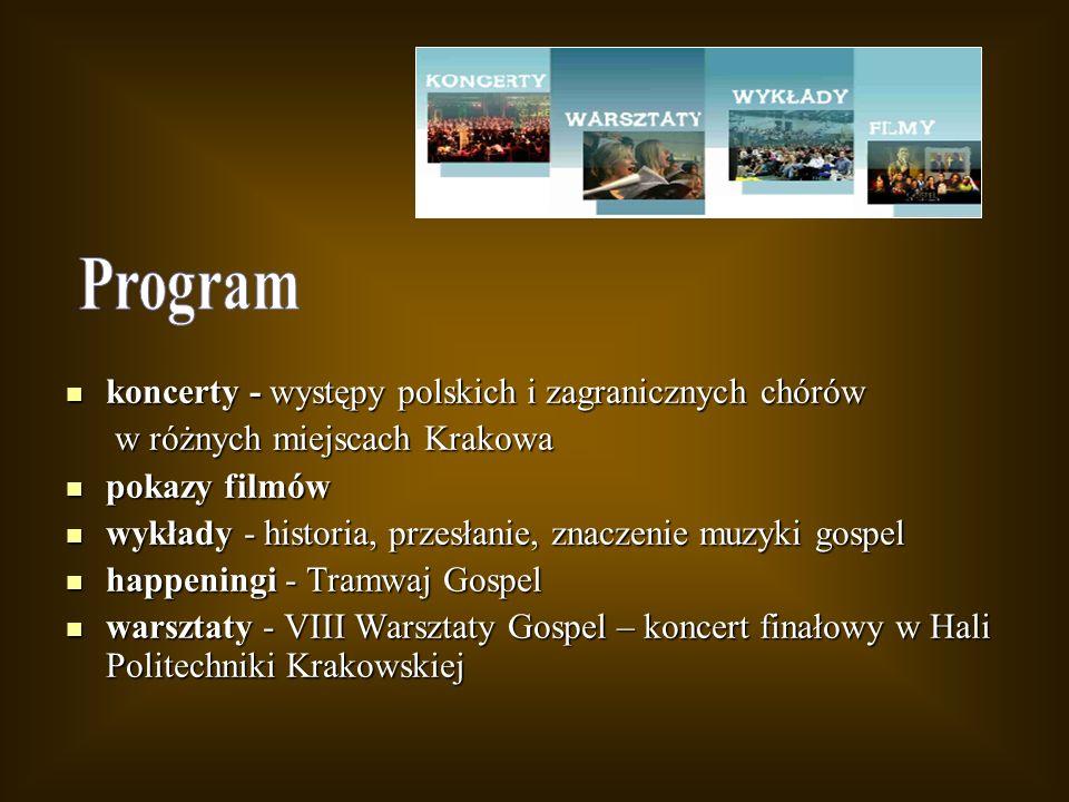 Program koncerty - występy polskich i zagranicznych chórów
