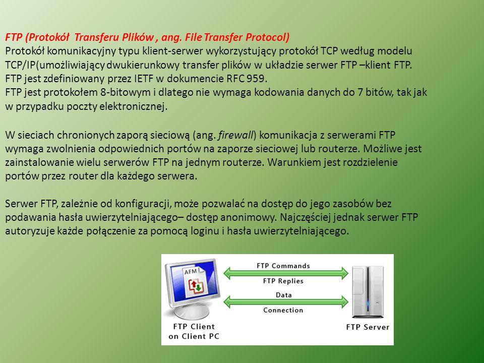 FTP (Protokół Transferu Plików , ang