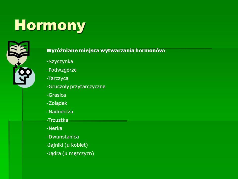 Hormony Wyróżniane miejsca wytwarzania hormonów: -Szyszynka