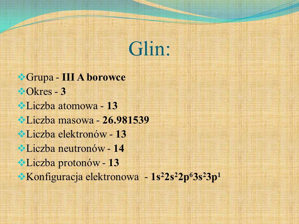 Glin: Grupa - III A borowce Okres - 3 Liczba atomowa - 13