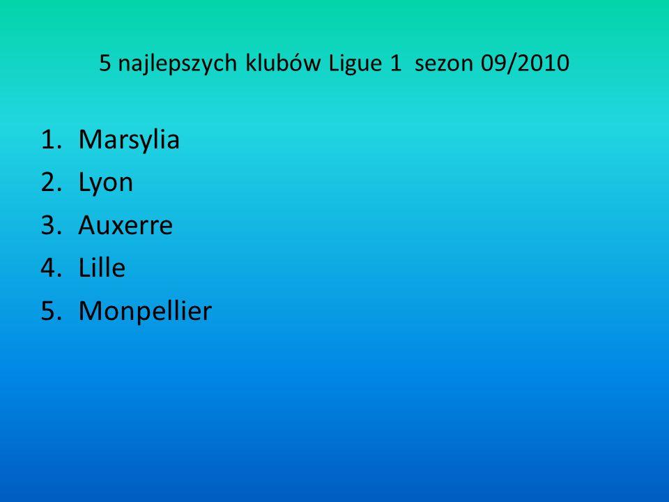 5 najlepszych klubów Ligue 1 sezon 09/2010