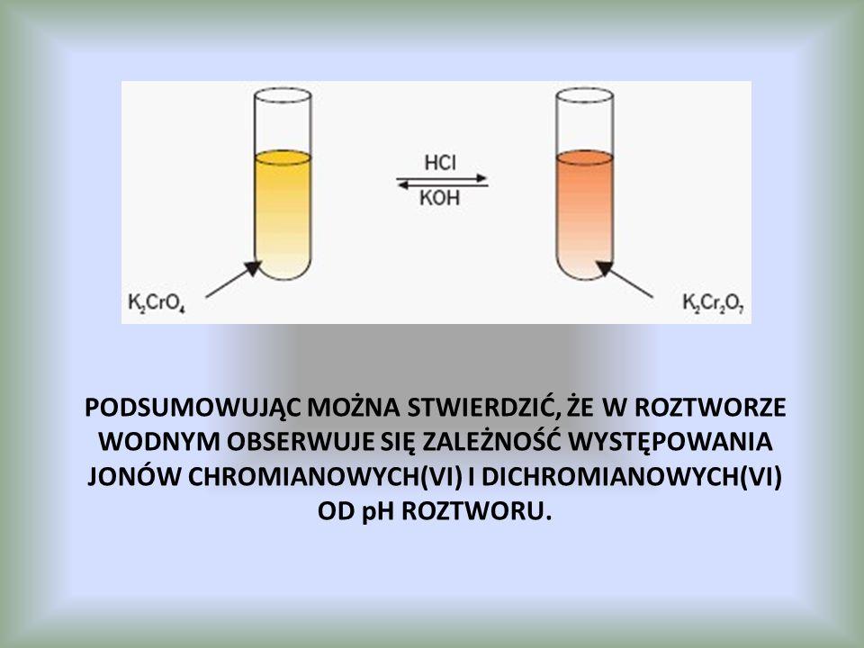 Podsumowując można stwierdzić, że w roztworze wodnym obserwuje się zależność występowania jonów chromianowych(VI) i dichromianowych(VI) od pH roztworu.