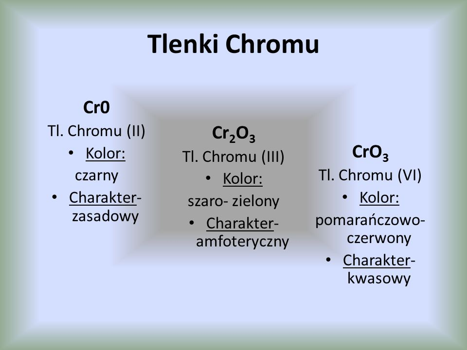 Tlenki Chromu Cr0 Cr2O3 CrO3 Tl. Chromu (II) Kolor: Tl. Chromu (III)