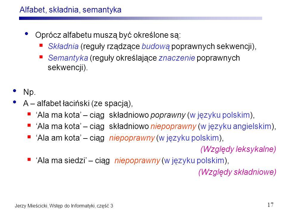 Alfabet, składnia, semantyka