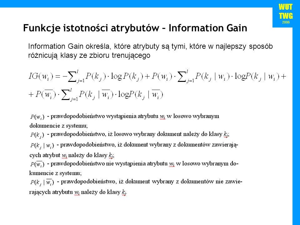 Funkcje istotności atrybutów – Information Gain
