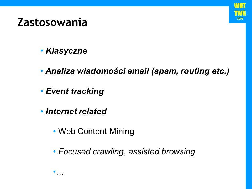 Zastosowania Klasyczne Analiza wiadomości email (spam, routing etc.)