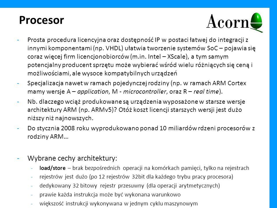 Procesor Wybrane cechy architektury: