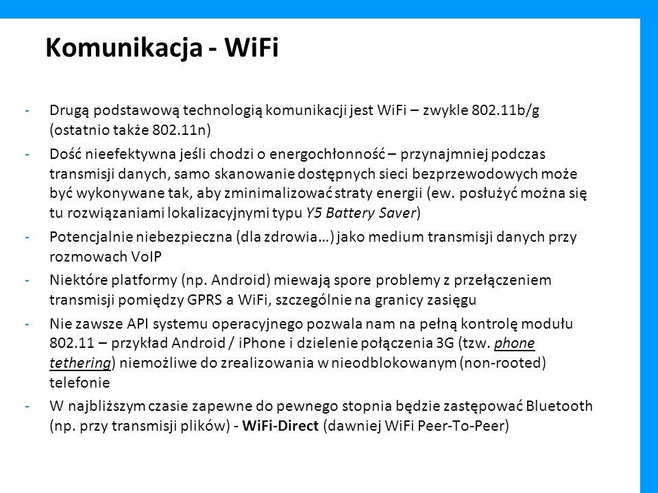 Komunikacja - WiFi Drugą podstawową technologią komunikacji jest WiFi – zwykle 802.11b/g (ostatnio także 802.11n)