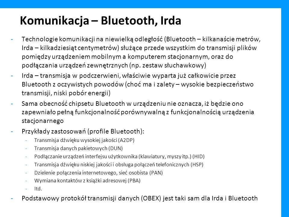 Komunikacja – Bluetooth, Irda