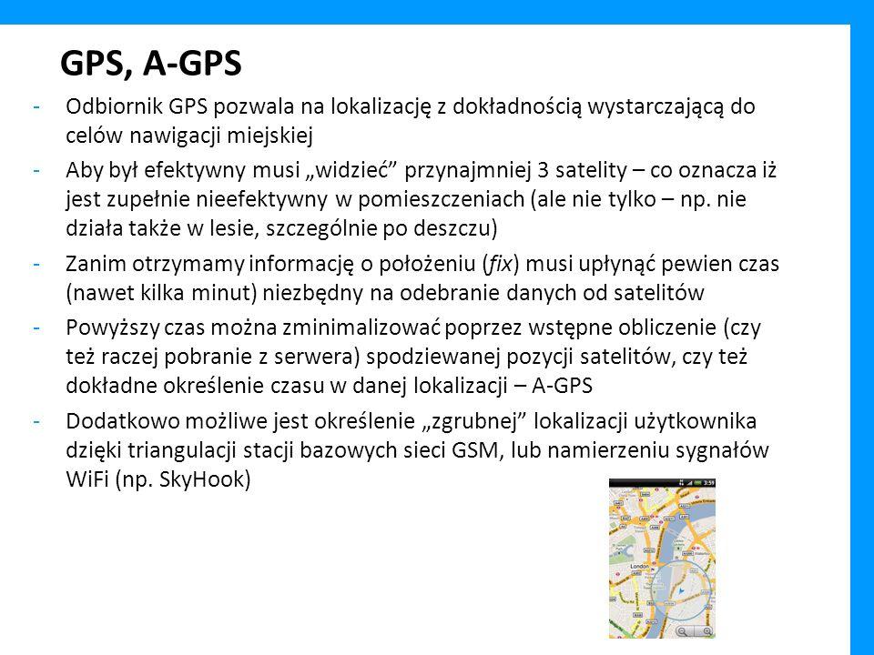 GPS, A-GPS Odbiornik GPS pozwala na lokalizację z dokładnością wystarczającą do celów nawigacji miejskiej.