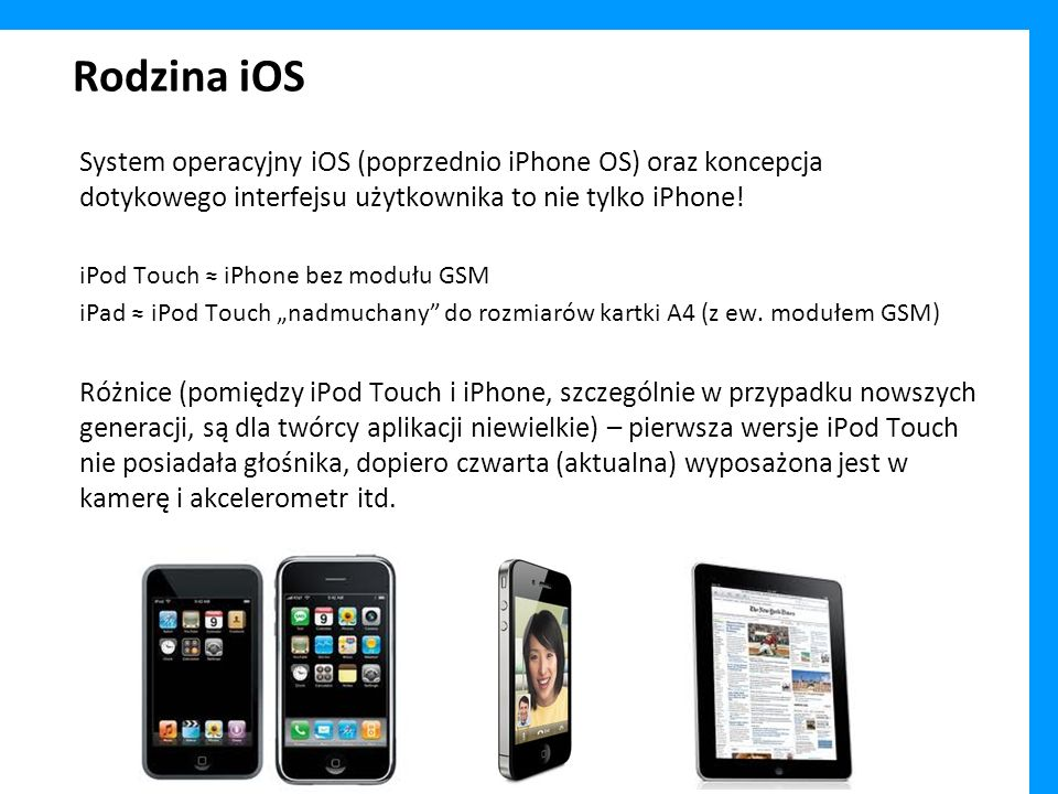 Rodzina iOS System operacyjny iOS (poprzednio iPhone OS) oraz koncepcja dotykowego interfejsu użytkownika to nie tylko iPhone!