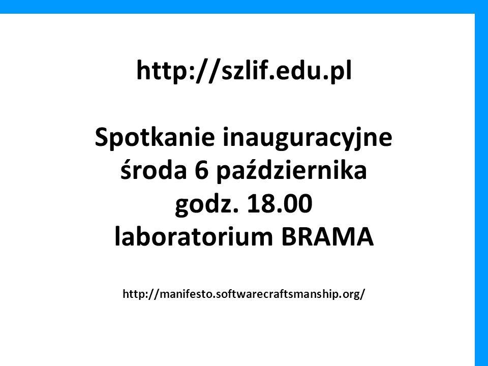 http://szlif.edu.pl Spotkanie inauguracyjne środa 6 października godz.