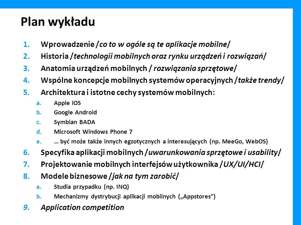 Plan wykładu Wprowadzenie /co to w ogóle są te aplikacje mobilne/