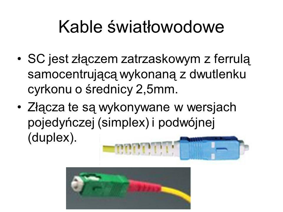 Kable światłowodoweSC jest złączem zatrzaskowym z ferrulą samocentrującą wykonaną z dwutlenku cyrkonu o średnicy 2,5mm.