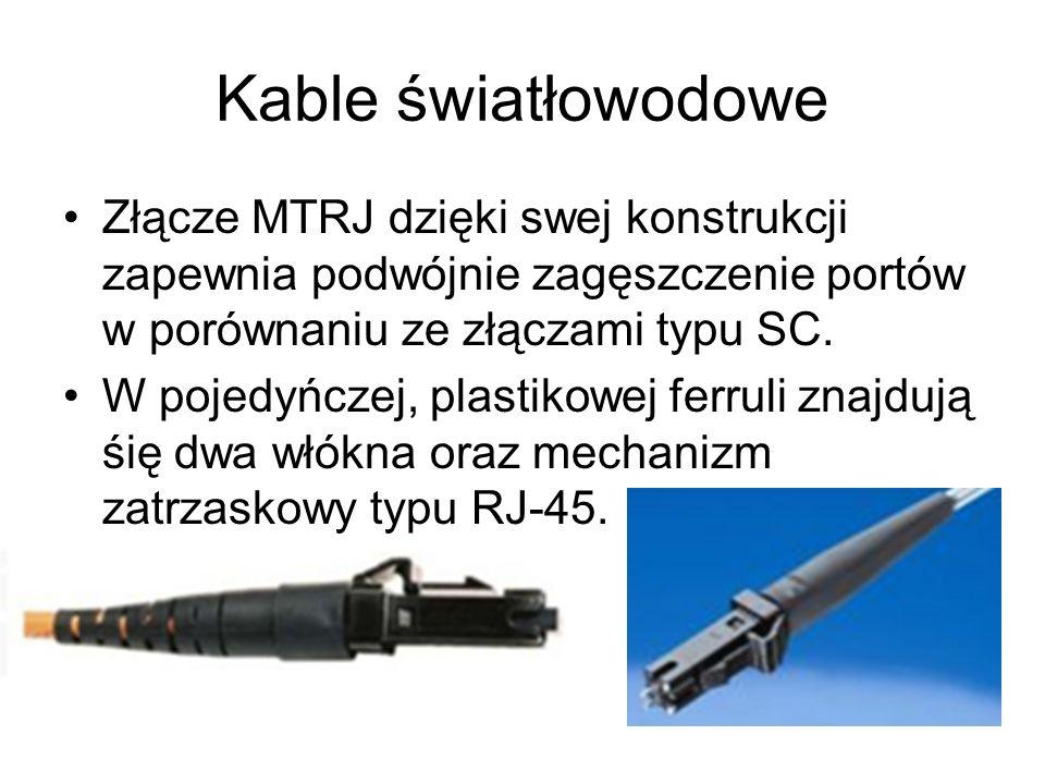 Kable światłowodowe Złącze MTRJ dzięki swej konstrukcji zapewnia podwójnie zagęszczenie portów w porównaniu ze złączami typu SC.
