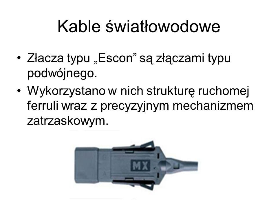 """Kable światłowodowe Złacza typu """"Escon są złączami typu podwójnego."""