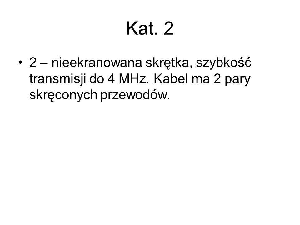 Kat. 2 2 – nieekranowana skrętka, szybkość transmisji do 4 MHz.