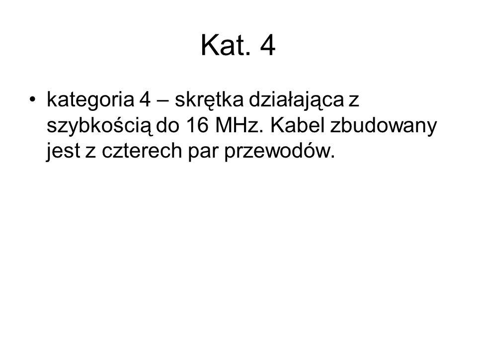 Kat. 4 kategoria 4 – skrętka działająca z szybkością do 16 MHz.