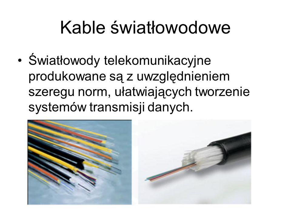 Kable światłowodowe Światłowody telekomunikacyjne produkowane są z uwzględnieniem szeregu norm, ułatwiających tworzenie systemów transmisji danych.