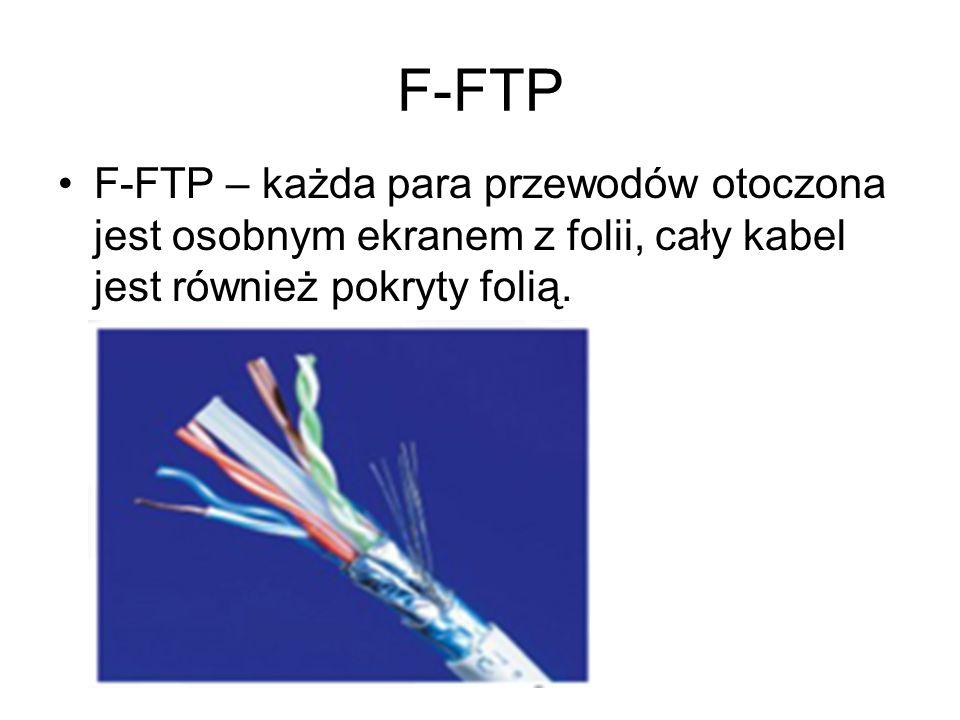 F-FTPF-FTP – każda para przewodów otoczona jest osobnym ekranem z folii, cały kabel jest również pokryty folią.