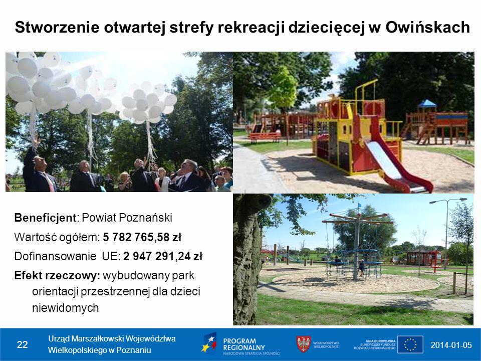 Stworzenie otwartej strefy rekreacji dziecięcej w Owińskach
