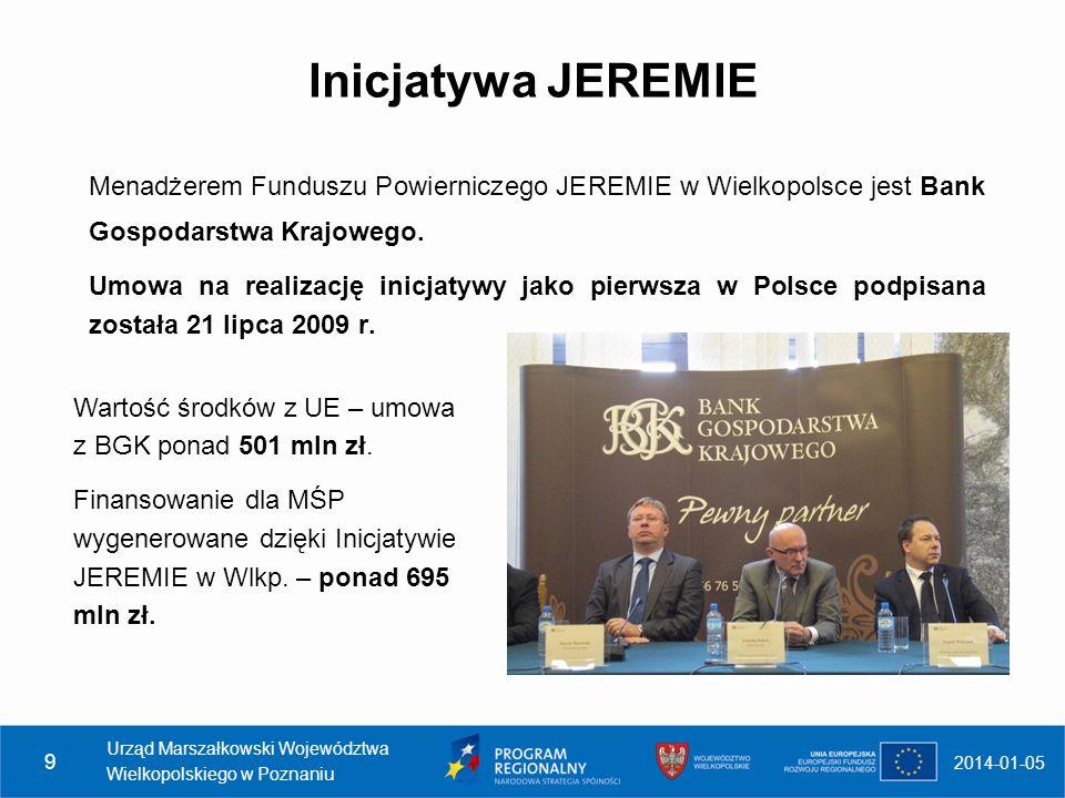 Inicjatywa JEREMIE Menadżerem Funduszu Powierniczego JEREMIE w Wielkopolsce jest Bank Gospodarstwa Krajowego.