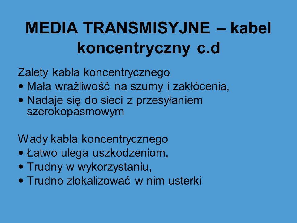 MEDIA TRANSMISYJNE – kabel koncentryczny c.d