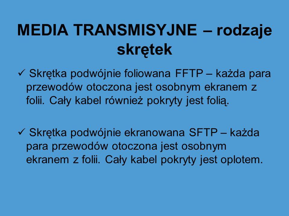 MEDIA TRANSMISYJNE – rodzaje skrętek