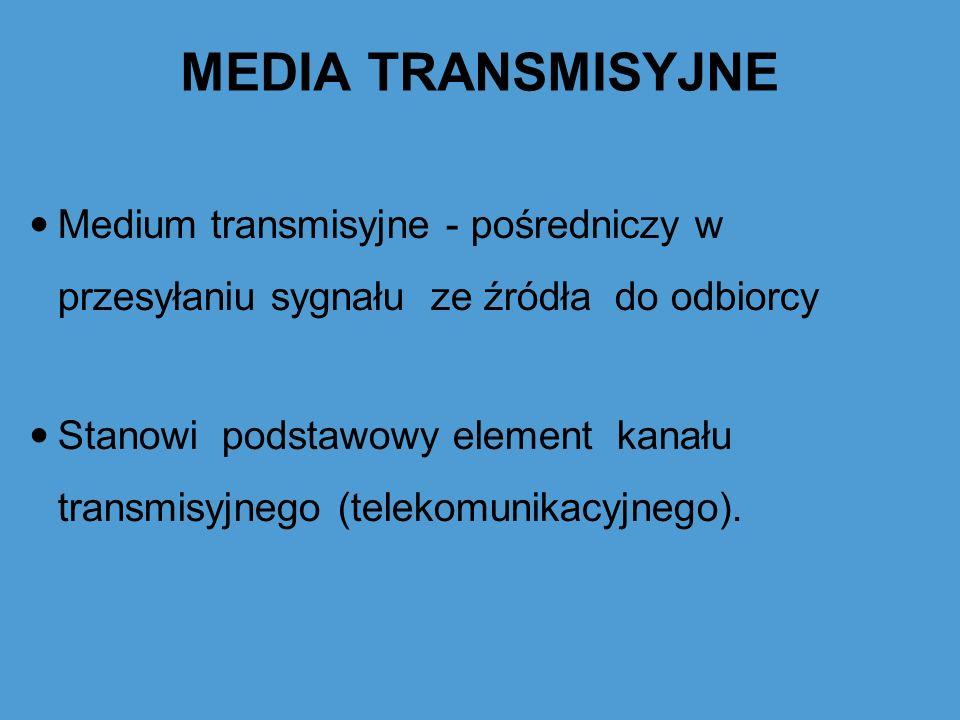 MEDIA TRANSMISYJNE Medium transmisyjne - pośredniczy w przesyłaniu sygnału ze źródła do odbiorcy.