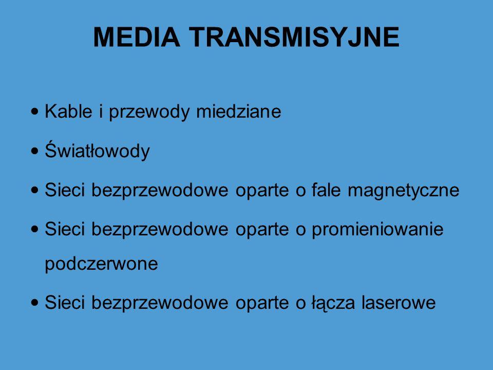 MEDIA TRANSMISYJNE Kable i przewody miedziane Światłowody