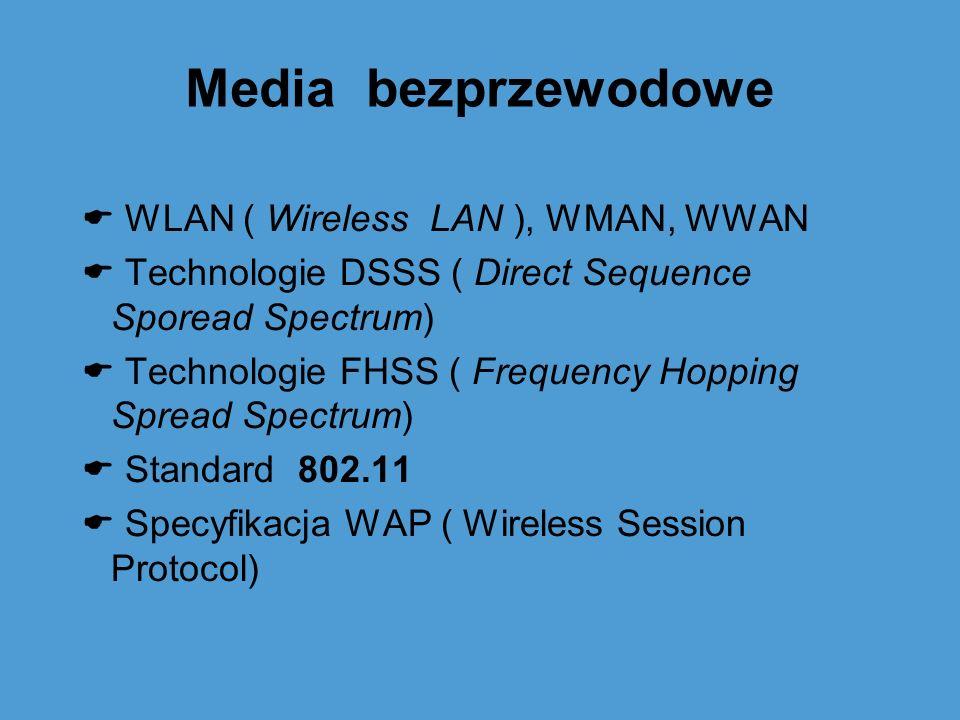 Media bezprzewodowe WLAN ( Wireless LAN ), WMAN, WWAN