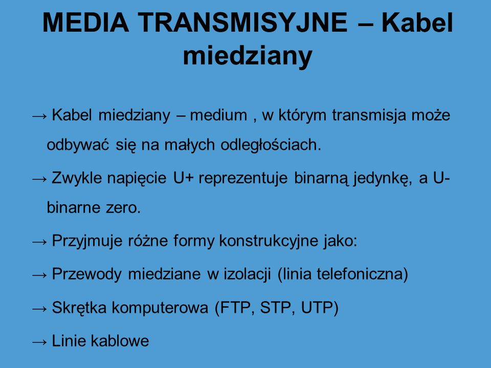 MEDIA TRANSMISYJNE – Kabel miedziany
