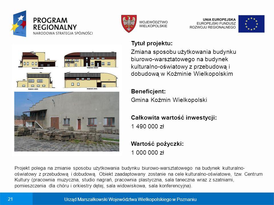 Gmina Koźmin Wielkopolski Całkowita wartość inwestycji: 1 490 000 zł