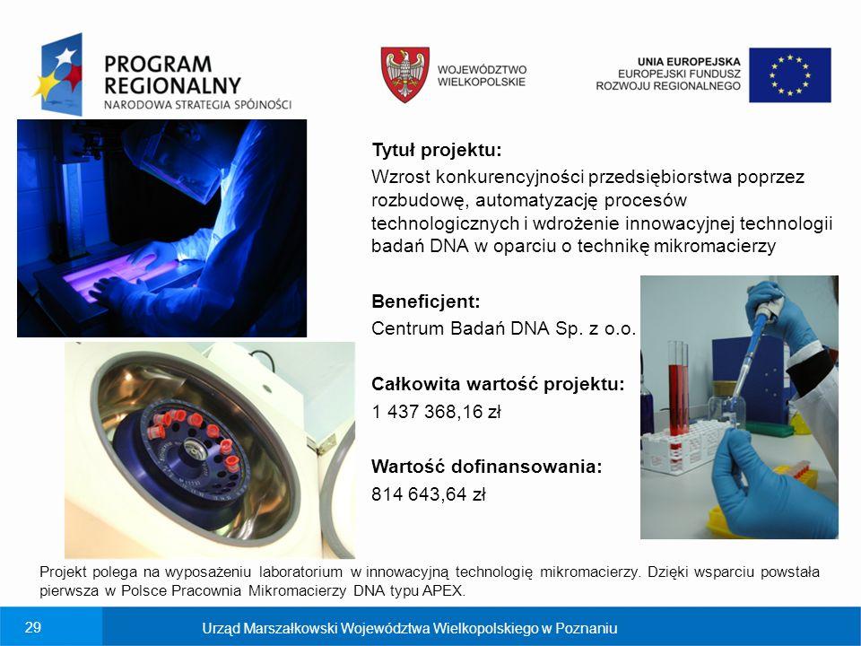 Centrum Badań DNA Sp. z o.o. Całkowita wartość projektu: