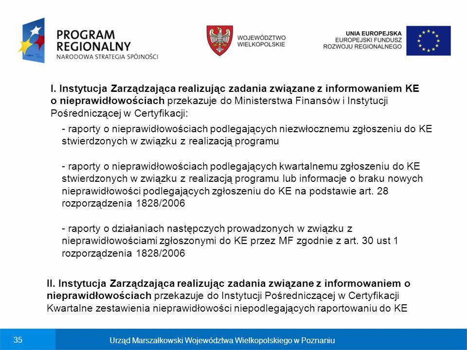 I. Instytucja Zarządzająca realizując zadania związane z informowaniem KE o nieprawidłowościach przekazuje do Ministerstwa Finansów i Instytucji Pośredniczącej w Certyfikacji: