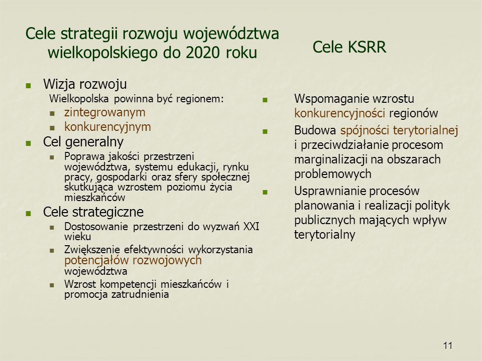 Cele strategii rozwoju województwa wielkopolskiego do 2020 roku