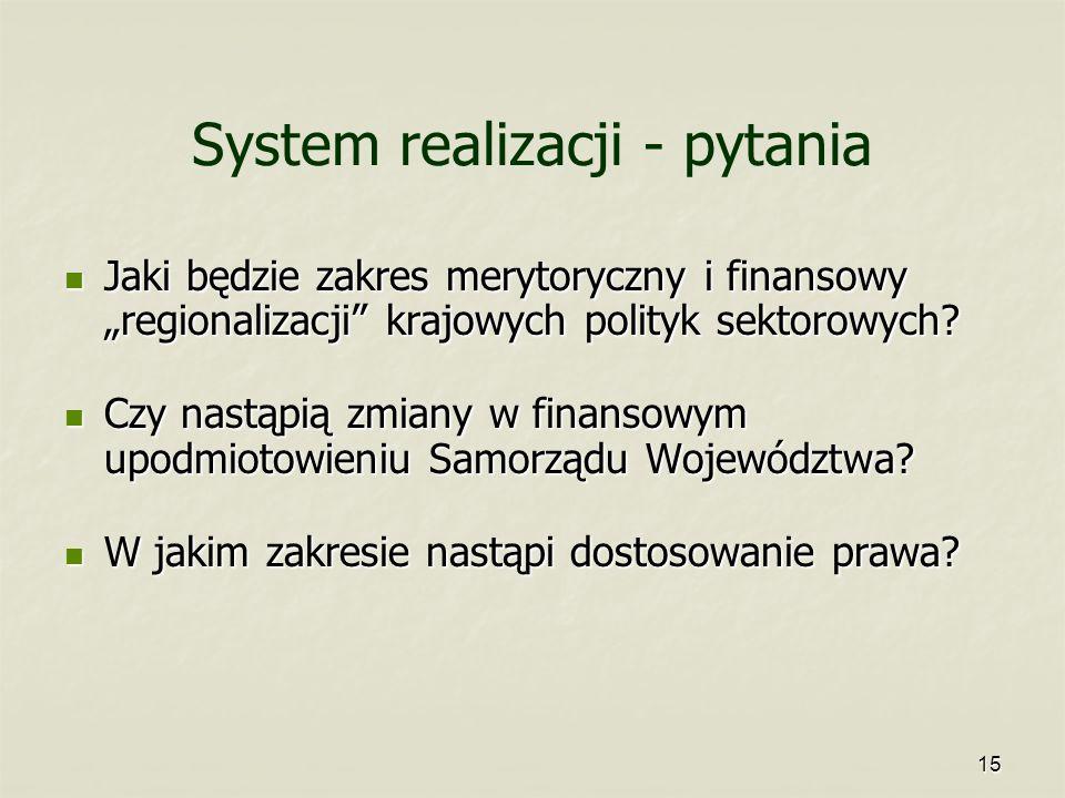 System realizacji - pytania