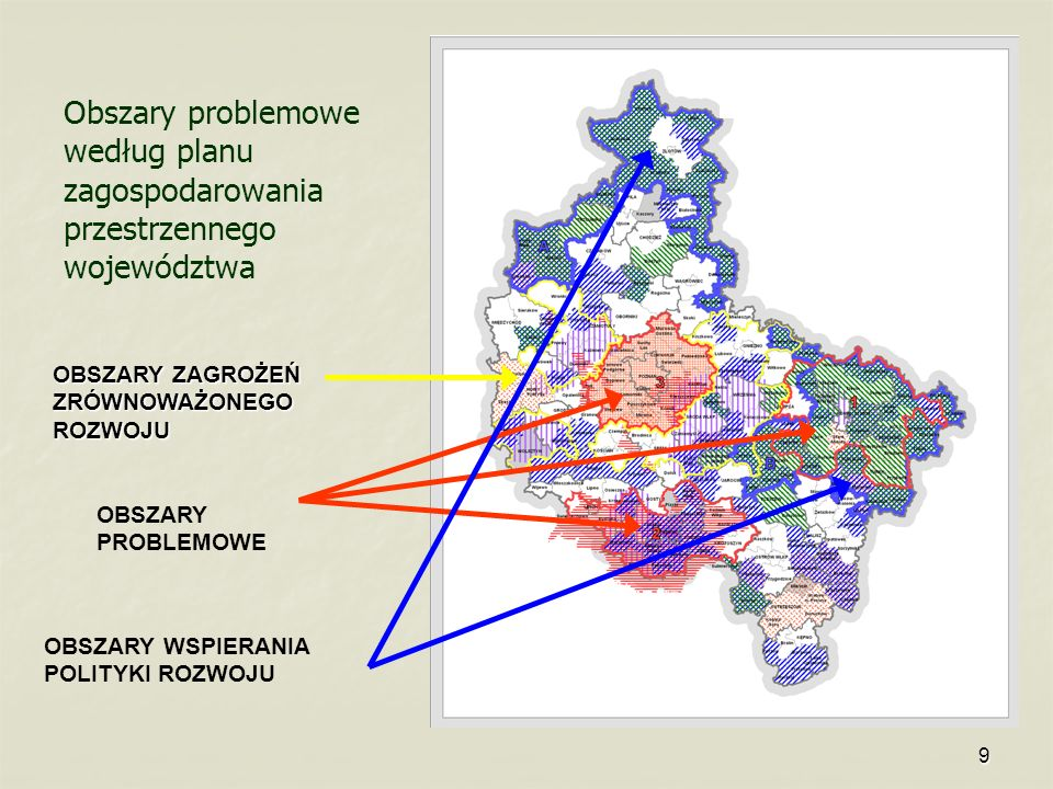 Obszary problemowe według planu zagospodarowania przestrzennego województwa