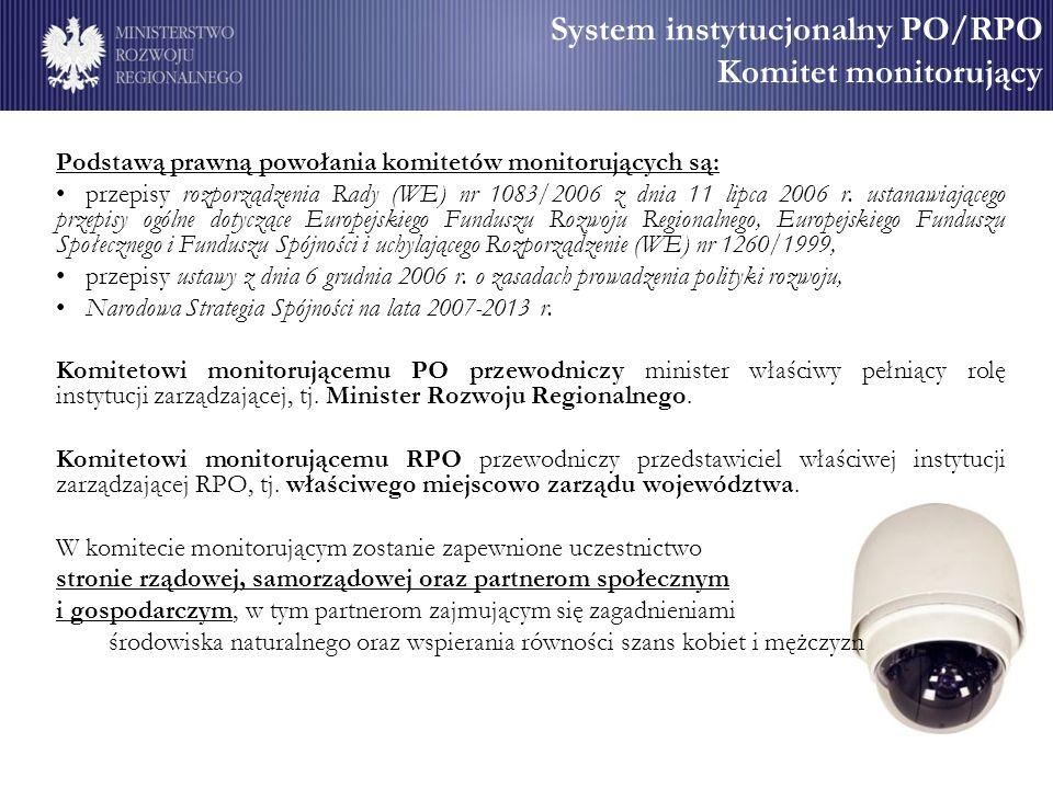 System instytucjonalny PO/RPO Komitet monitorujący