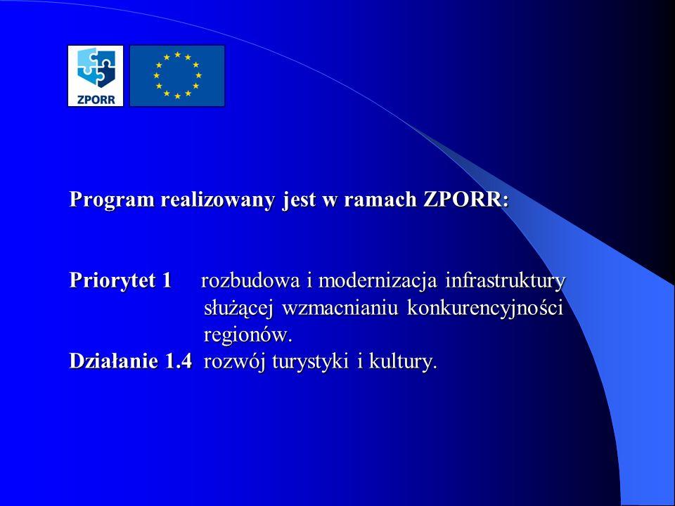 Program realizowany jest w ramach ZPORR: Priorytet 1 rozbudowa i modernizacja infrastruktury służącej wzmacnianiu konkurencyjności regionów.