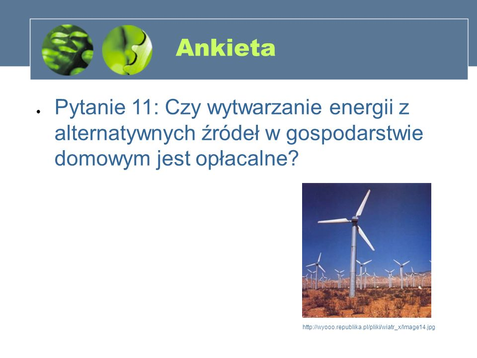 Ankieta Pytanie 11: Czy wytwarzanie energii z alternatywnych źródeł w gospodarstwie domowym jest opłacalne