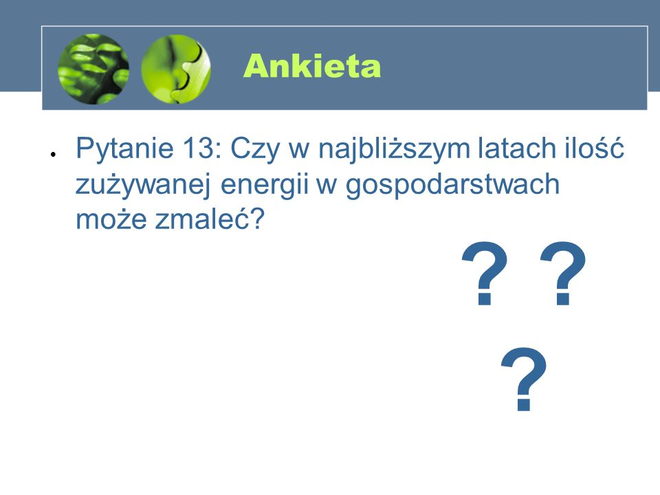 Ankieta Pytanie 13: Czy w najbliższym latach ilość zużywanej energii w gospodarstwach może zmaleć