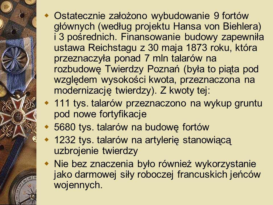 Ostatecznie założono wybudowanie 9 fortów głównych (według projektu Hansa von Biehlera) i 3 pośrednich. Finansowanie budowy zapewniła ustawa Reichstagu z 30 maja 1873 roku, która przeznaczyła ponad 7 mln talarów na rozbudowę Twierdzy Poznań (była to piąta pod względem wysokości kwota, przeznaczona na modernizację twierdzy). Z kwoty tej: