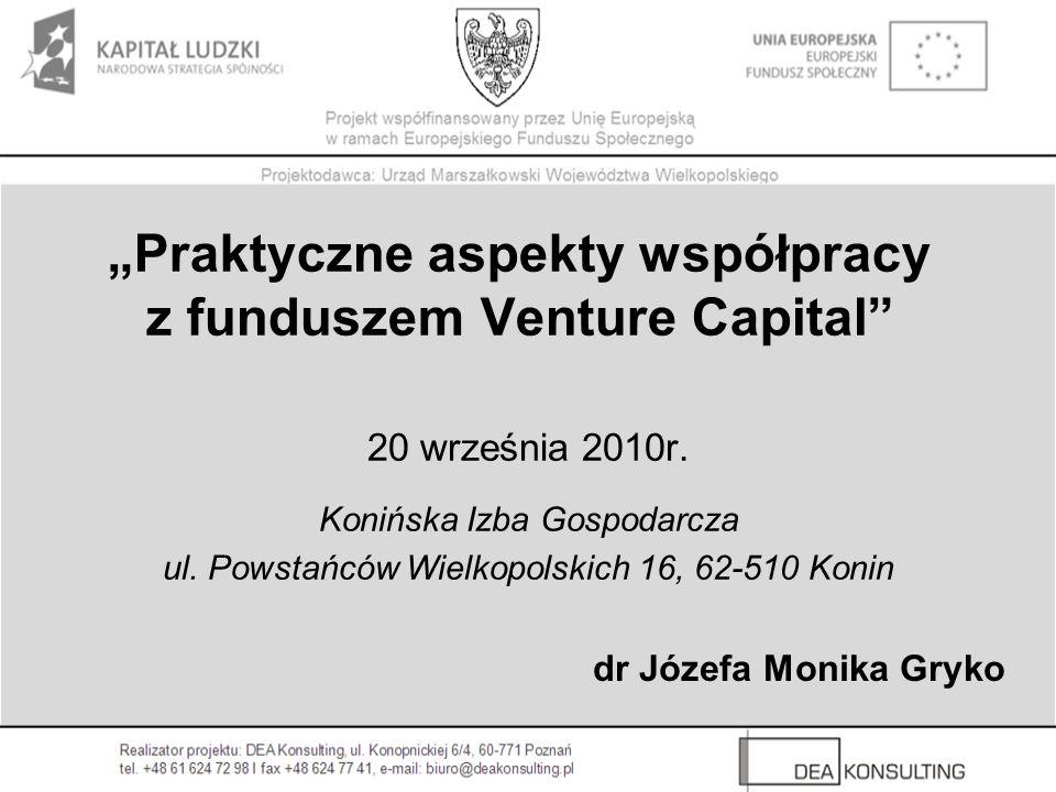 """""""Praktyczne aspekty współpracy z funduszem Venture Capital"""