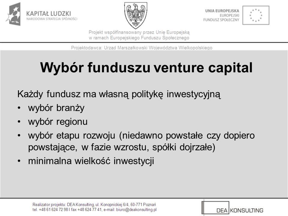 Wybór funduszu venture capital