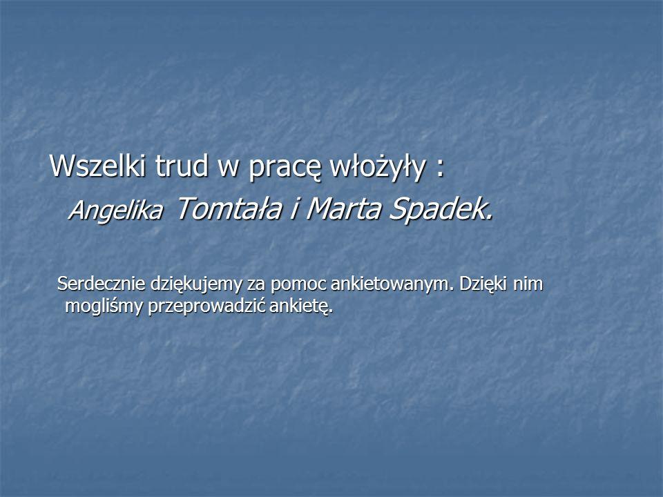 Wszelki trud w pracę włożyły : Angelika Tomtała i Marta Spadek.